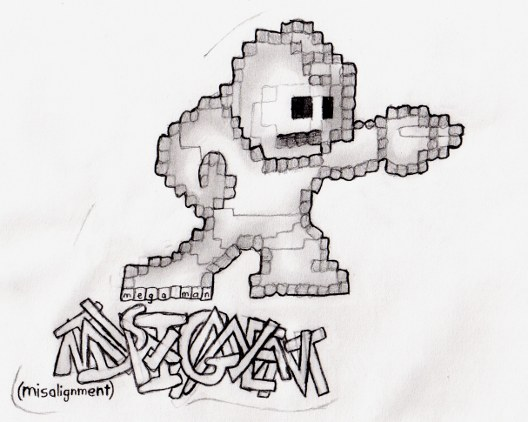 The pixelated Mega Man from the original Mega Man game. I only drew the outline pixels, but they're not all accurate -- some pixels are diagonal, some are wider than others, etc. I added some smooth shading inside Mega Man and added soft contour lines where his pixels changed colors. The drawing is titled Misalignment, because of the misaligned outline pixels. (and recursively to the title's graffiti-style lettering!).