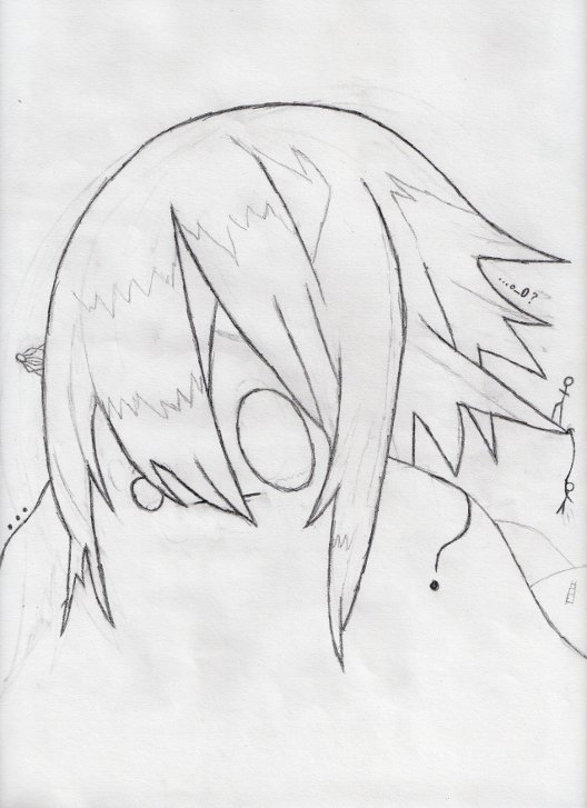 This is someone's head melting into his body. The hair is loosely based on Emil's from Tales of Symphonia, and the face is supposed to resemble the o_O emoticon. On the left is a ... and a spider, to the right there is a ?, some hills, a ladder, and stick figures climbing his hair. The title is ... o_O ?.