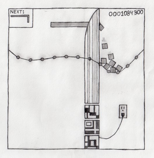 This is a drawing of an electric sword chopping Tetris blocks into bite-sized chunks.